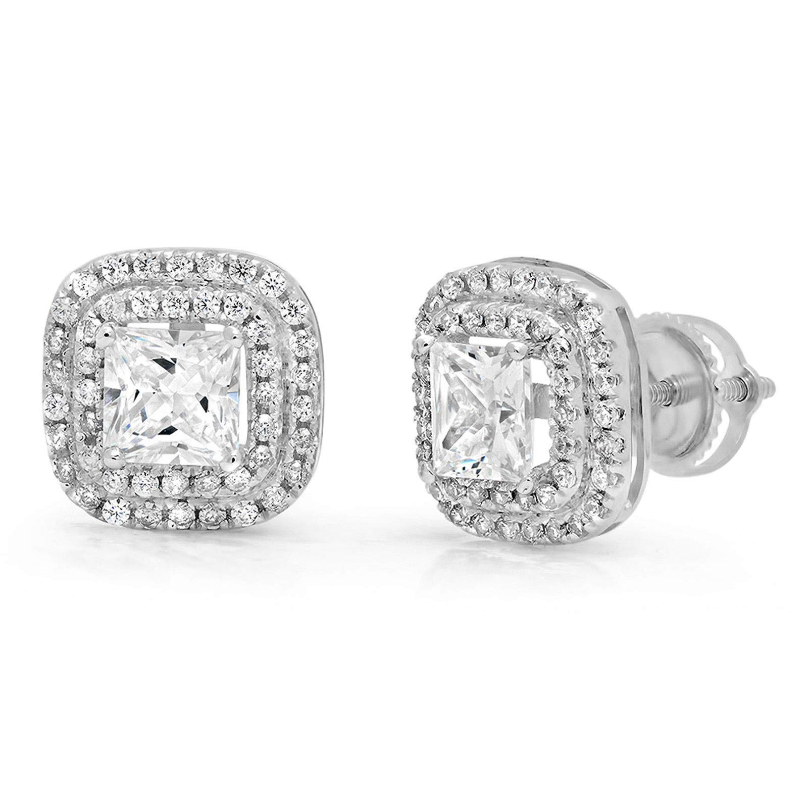 2.89ct Brilliant Princess Round Cut Double Halo Solitaire Highest Quality Moissanite & Simulated Diamond Unisex Anniversary Gift Solitaire Stud Screw Back Earrings Real Solid 14k White Gold