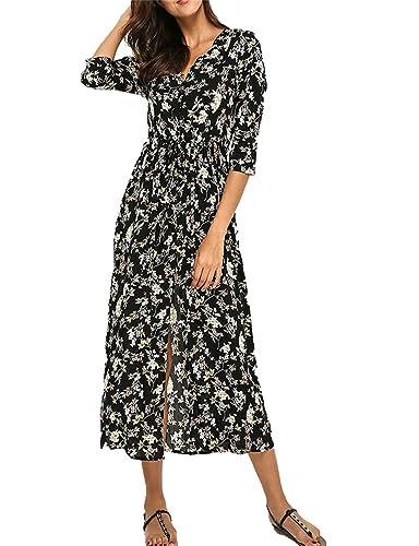 Fortuning's JDS Moda V collo Floreale stampato Pulsante Lungo boemo Maxi Vestire per donne