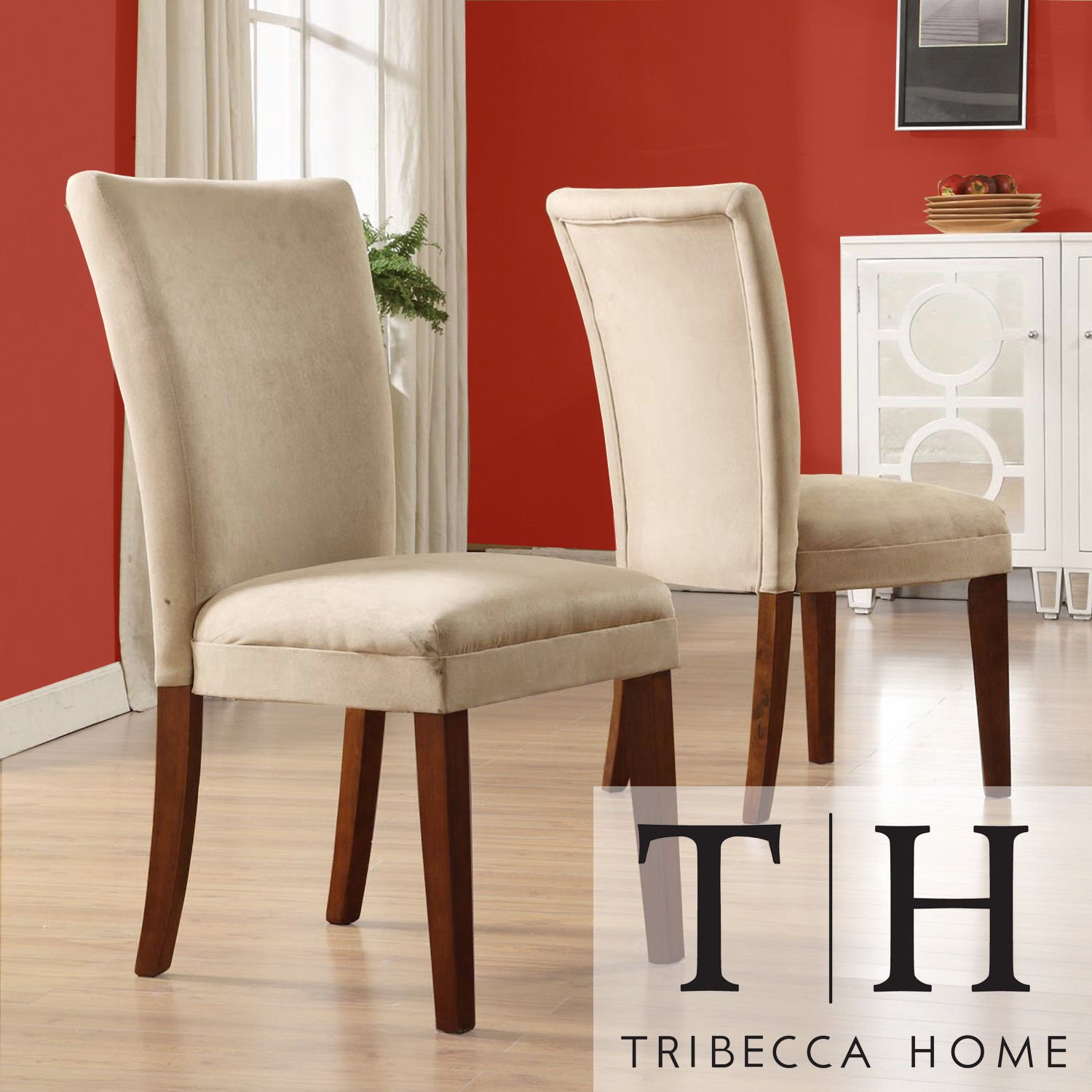 Metro Shop TRIBECCA HOME Parson Classic Peat Microfiber Side Chairs (Set of 2) by Metro Shop Home Decor