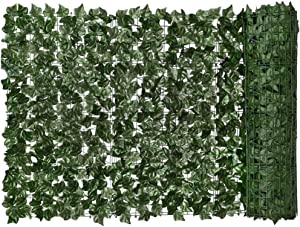 Artificial Ivy Green Leaf Hedge Artificial Leaf Privacy Fence Screen Garden Fence Screening Green Leaf Faux Ivy Plant Wall Fake Grass Decorative Backdrop for Outdoor Garden Balcony 0.5x3m