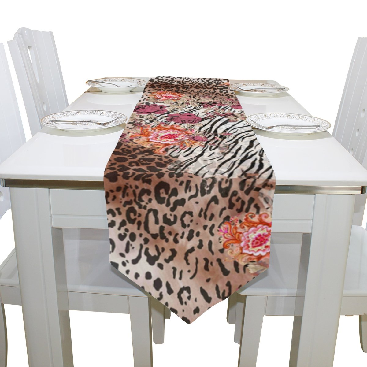 SAVSV 13 x 90 inch Fabric Table Runner Place Mats Animal Print And Flowers Mix for Kitchen Dining Wedding Party Table Decor Party Decoration