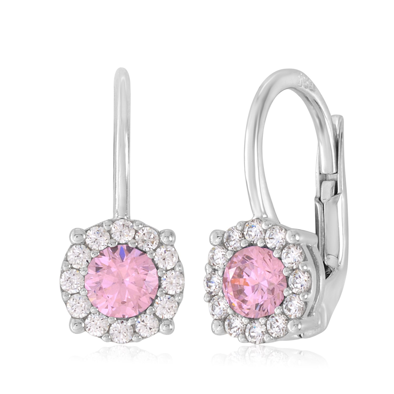 UNICORNJ 14K White Gold CZ Halo Leverback Earrings with Pink Center Italy