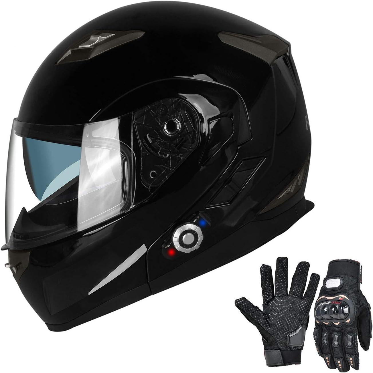 DOT Approved Helmet FreedConn Motorcycle Bluetooth Helmets Built-in Mp3 FM Radio Integrated Intercom Communication System Modular Flip up Dual Visors Full Face Helmets