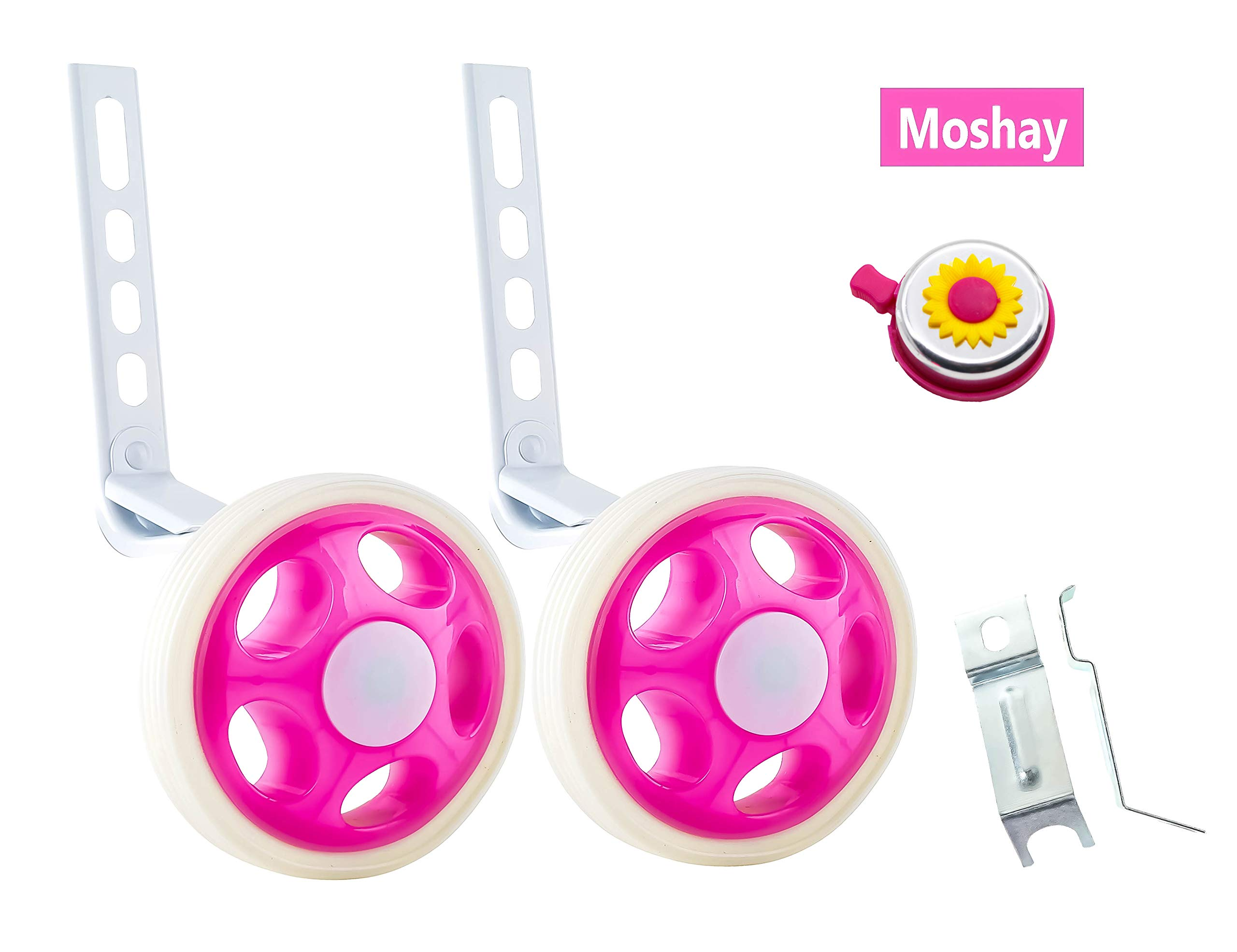 MOSHAY Training Wheels for Children's Bicycle stabiliser(for 14 16 18 20 inch Bike) (A-Rose)