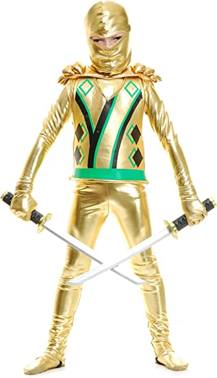 Charades Golden Ninja Series III with Armor Childs Costume, Gold, Medium
