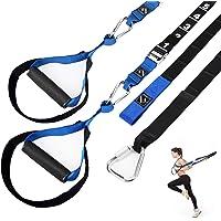 FITINDEX Zestaw do trenowania oporu ciała, domowe paski do treningu oporowego z uchwytami, trener oporowy fitness z…