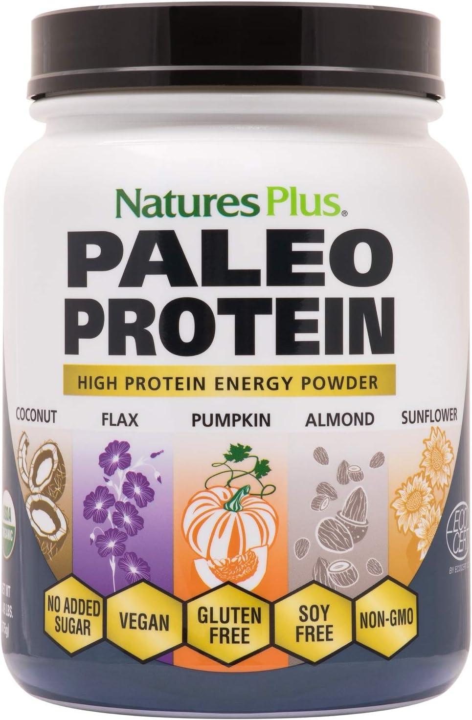 NaturesPlus Organic Paleo Protein - 1.49 lbs, 20 g Protein, Vegan Protein Powder - Unflavored, Unsweetened - Certified Organic High Protein Energy Protein - Vegetarian, Gluten-Free - 15 Servings