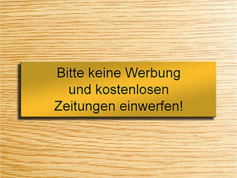 Gravola Briefkastenschild Silber Bitte Keine Werbung /& Zeitung einwerfen!
