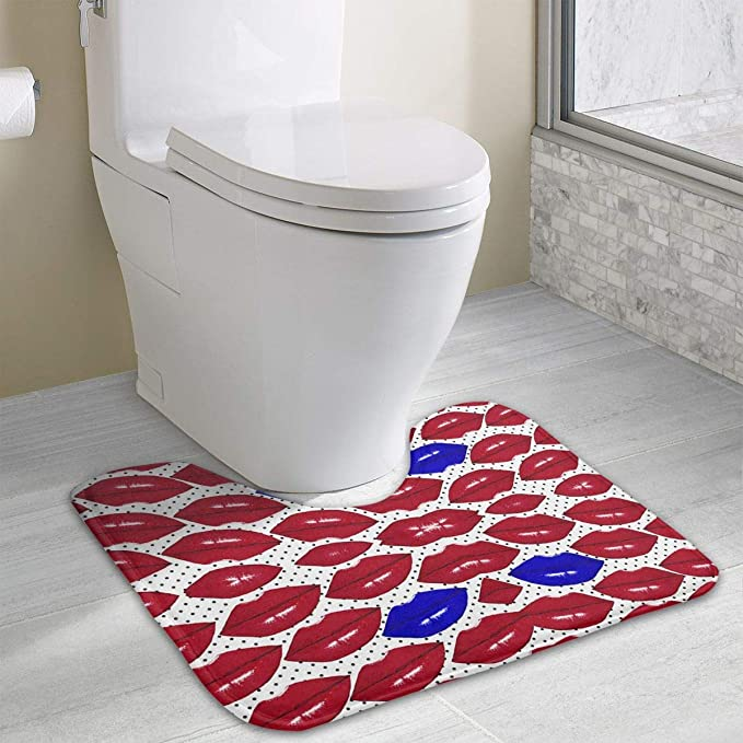 Amazoncom Non Slip Contour Bath Mat For Toilet On Polka Dot White