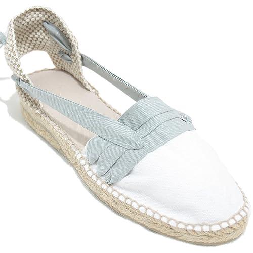 Espardenya.cat Alpargatas Hechas a Mano Tradicionales de Media Cuña Diseño Tres Vetas Color Gris Claro: Amazon.es: Zapatos y complementos