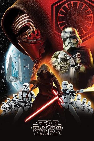 Star Wars EP7 First Order Episode7 Poster Plakat Größe 61x91,5cm + 2 St.  Posterleisten Holz 61,5 cm