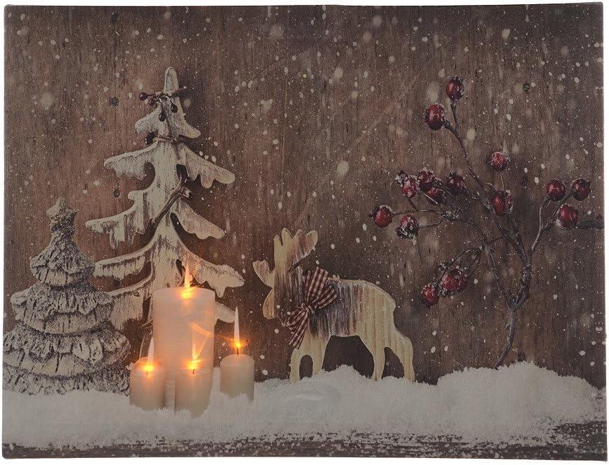 LED Bild Weihnachten Elch Winter Tannen Schnee Kerzen Leinwand Wandbild 30x40cm