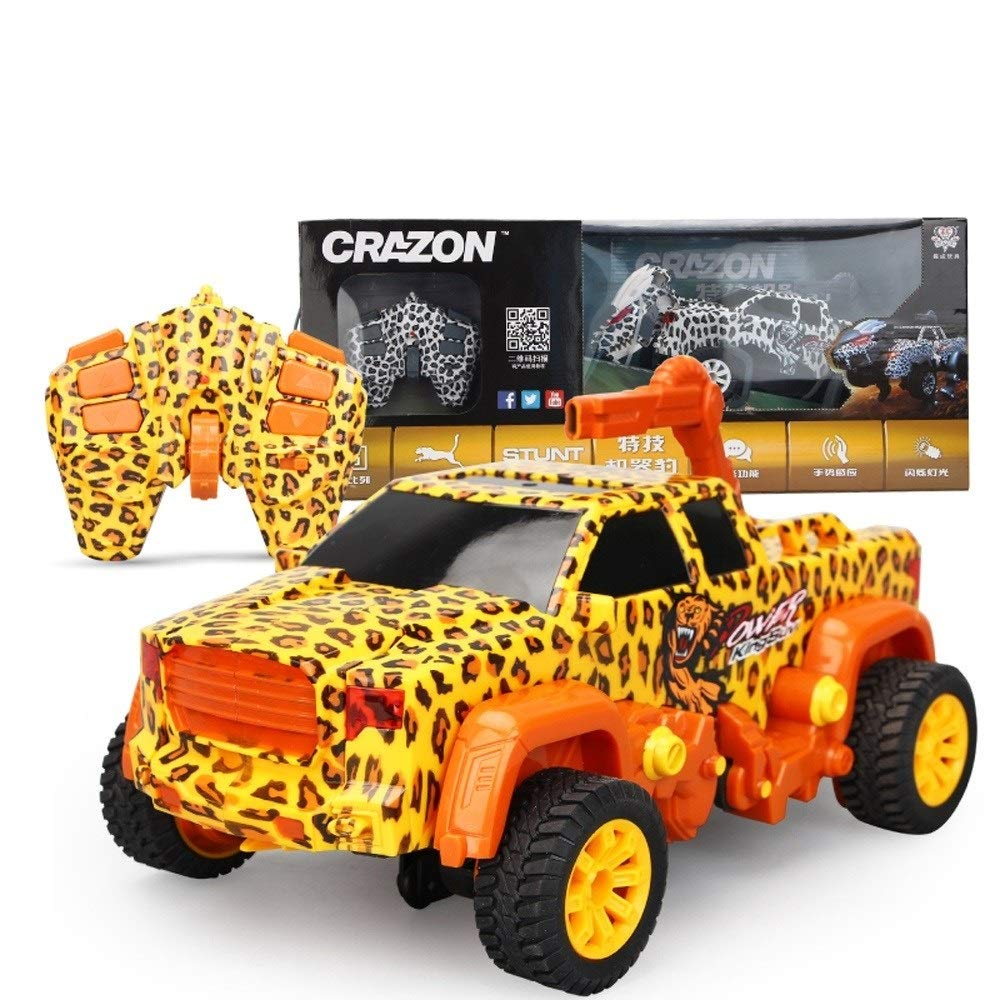 Pinjeer Creative Stunt Machine Leopard Induction Deformation Remote Control Car Voice Control Stunt Car Charging Boy Children's Toys Bifthday Gifts for Kids 8+ (Color : Yellow, Size : 1-Battery) by Pinjeer