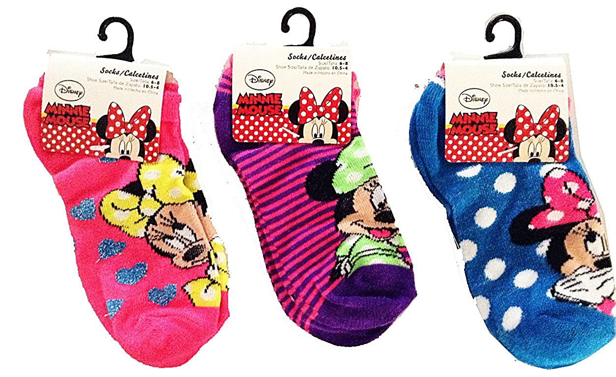 Amazon.com: Disney Minnie Mouse Kids Anklets Socks on Header Card (Assorted Design) Size 6-8, 3 Pairs: Clothing