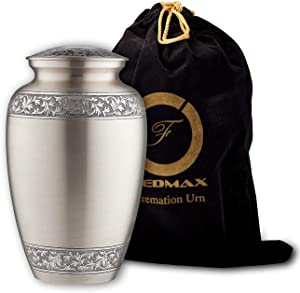 Cremation Urn for Ashes, for Adults up to 200lbs, Funeral Burial Urns w/Satin Bag for Human Ashes. (Brass, Up to 200lbs)