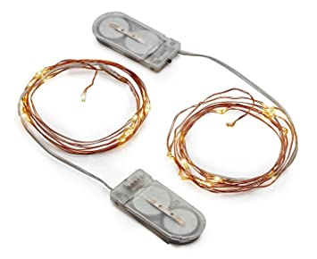 radiance led string lights 5 ft copper wire warm white battery powered