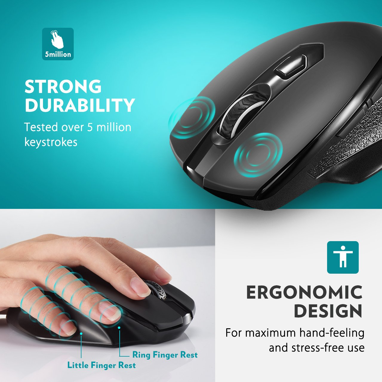 VicTsing Full Size Wireless Mouse with Nano USB Receiver, 5 Adjustable CPI Levels, 6 Buttons for Notebook, PC, Laptop, Computer, Macbook-Black by VicTsing (Image #5)