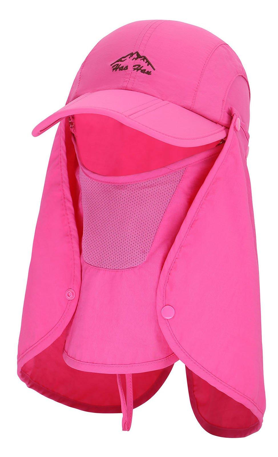 EPYA Flap Hat UPF 50+ UV Sun Protection Wind Proof Cap w/Neck & Face Cover,Rose