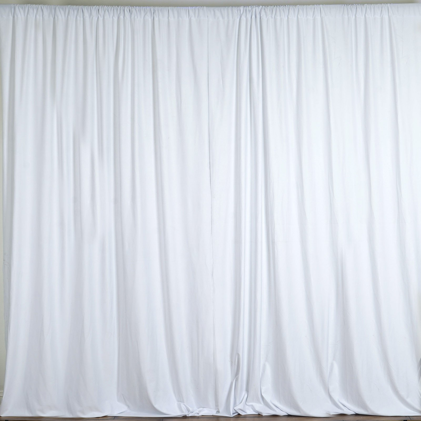 BalsaCircle 10 feet x 10 feet White Polyester Backdrop Drapes Curtains Panels - Wedding Ceremony Party Home Window Decorations