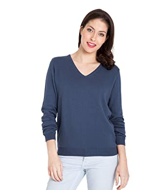 5e6575da742366 WoolOvers Womens Cashmere and Cotton V Neck Sweater French Navy, XS