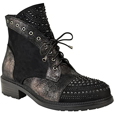 Womens Studded Gem Flat Ankle Boots Punk Metallic Crackle Size