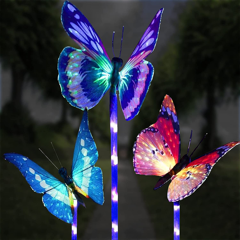 Solar Garden Lights Outdoor, Ovker 3 Pack LED Solar Butterfly Decorative Lights,IP65 Waterproof Fiber Optic Decorative Butterfly Color Changing Landscape Light for Garden Decorations,Yard