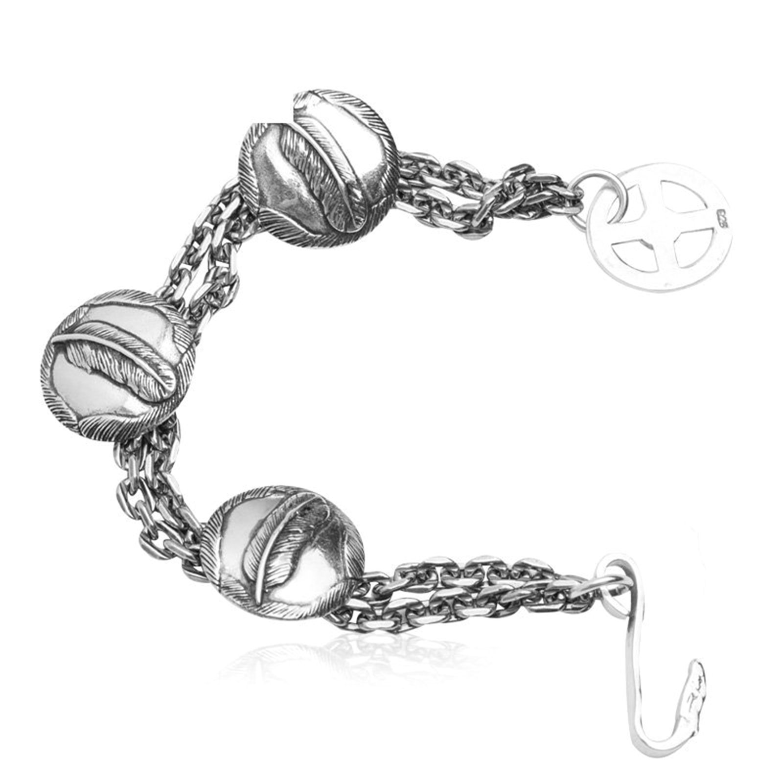 Daesar 925 Silver Bracelet For Men Round Card Feathers Bracelet Silver Chain Length:19CM