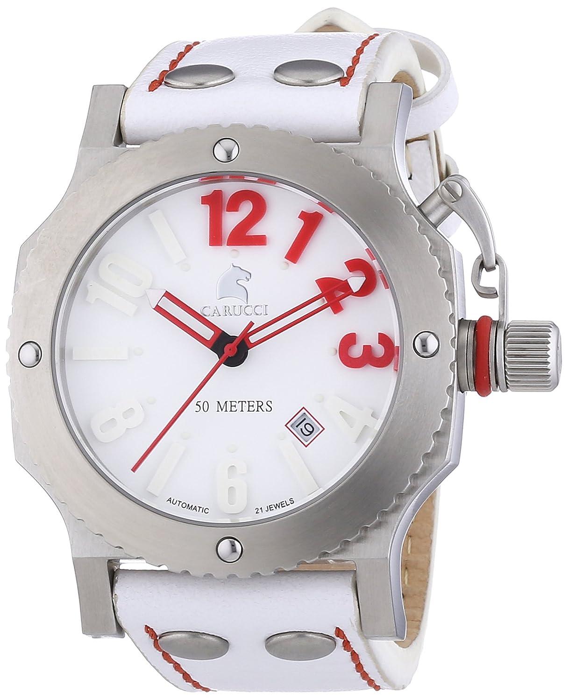 Carucci Watches Herren-Armbanduhr XL Analog Automatik Leder CA2210SL-RD