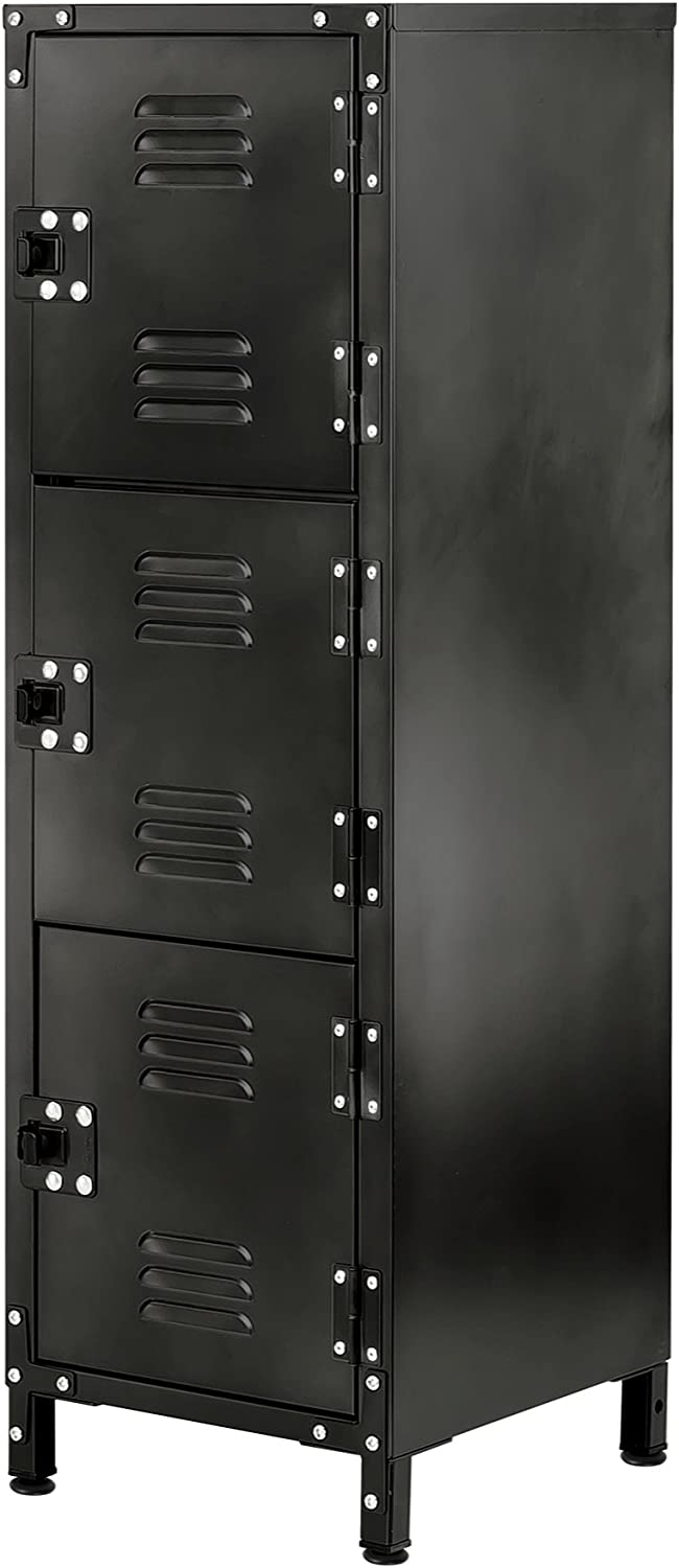 Allspace 3 Door Steel Storage Wardrobe Locker With Dark Weathered Finish, Vintage, Industrial, for Clothing,Home, Office, School, Dorm, Teen, Shop, Vented, Lockable, Durable Powdercoat - 450112E