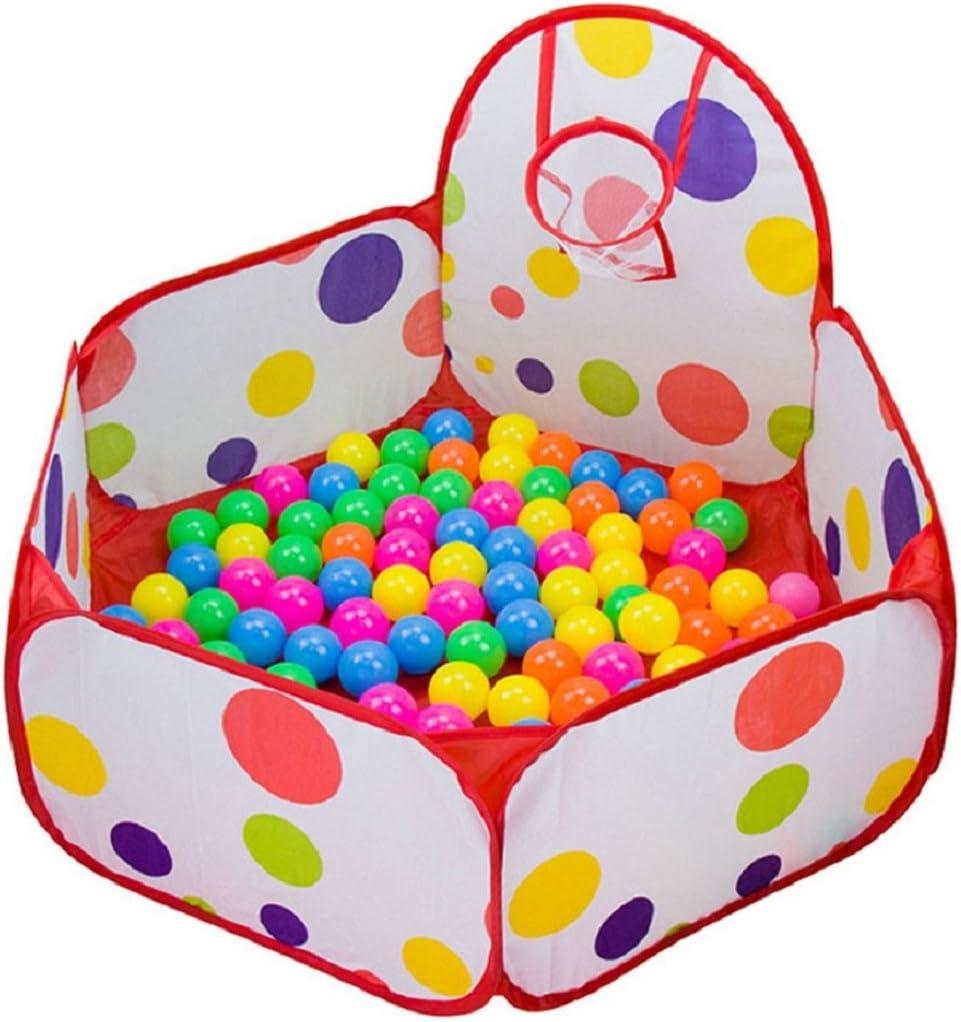 Amison - Hoyo de Bolas con aro de Baloncesto, diseño de Lunares hexagonales para niños