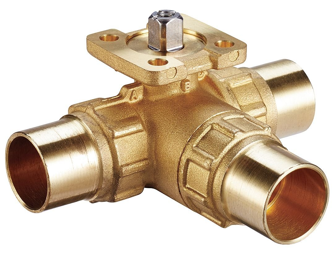 Johnson Controls VG1875AG Series VG1000 Sweat End Connection Valve, Stainless Steel Trim, Three-Way, 1/2'' Size, 4.7 Cv, 200 psig Closeoff