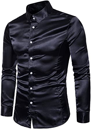 f4bdaf3bc HENGAO Men's Long Sleeves Shiny Satin Button Down Slim Fit Prom Dress Shirt,  Black,