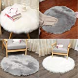 Romantic Soft Artificial Sheepskin Area Rug Mat Dirance Non-Slip Bath Mat Absorbent Quick Dry hair Cover Artificial Wool Warm Hairy Carpets Decoratives For Living Dorm Room Bedroom (White)