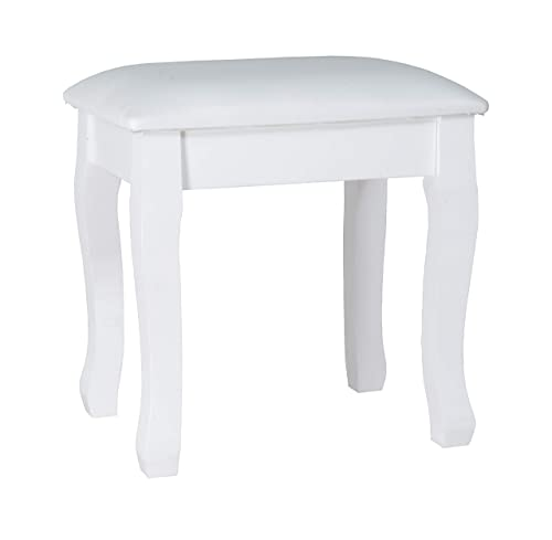 Organizedlife White Vanity Stool Padded Makeup Chair Bench with Solid Wood Legs
