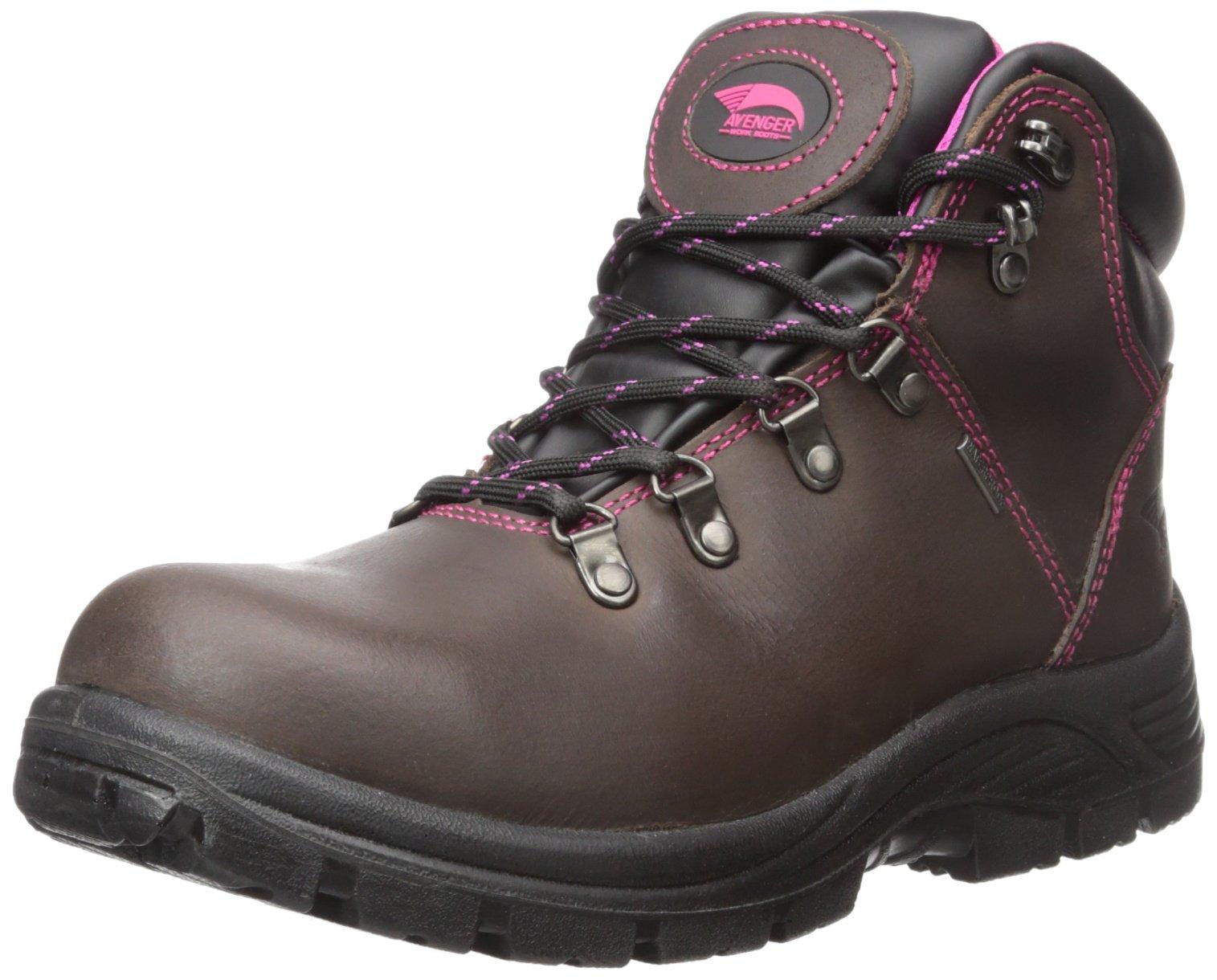 Avenger Safety Footwear Women's 7125-W, Brown, 8.5 M US