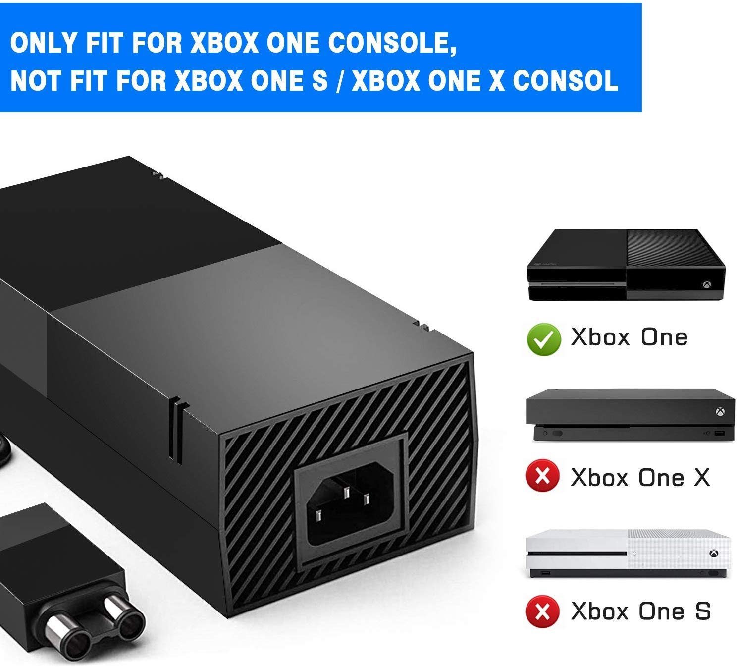 Xbox One Power Supply,AC Adapter Power Supply Charger Cord with 100-240V AC Power Wall Cord for Xbox One,Black