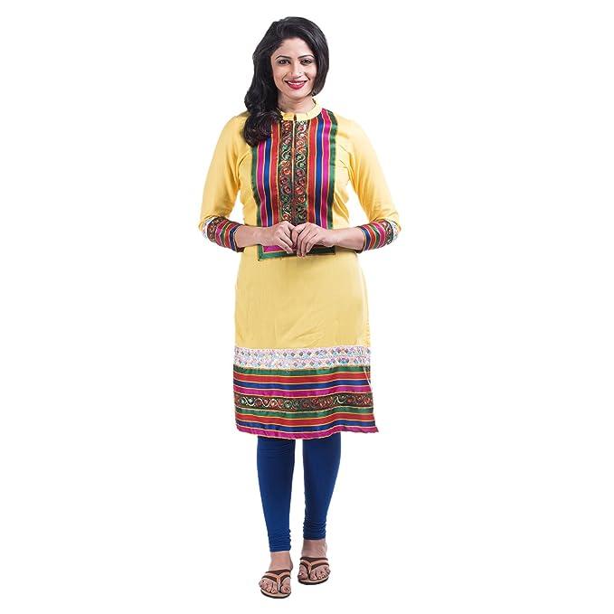 b42288b40c7 Mamosa Rayon long kurtis for stylish stitched party kurti for latest design  party wear wear Yellow