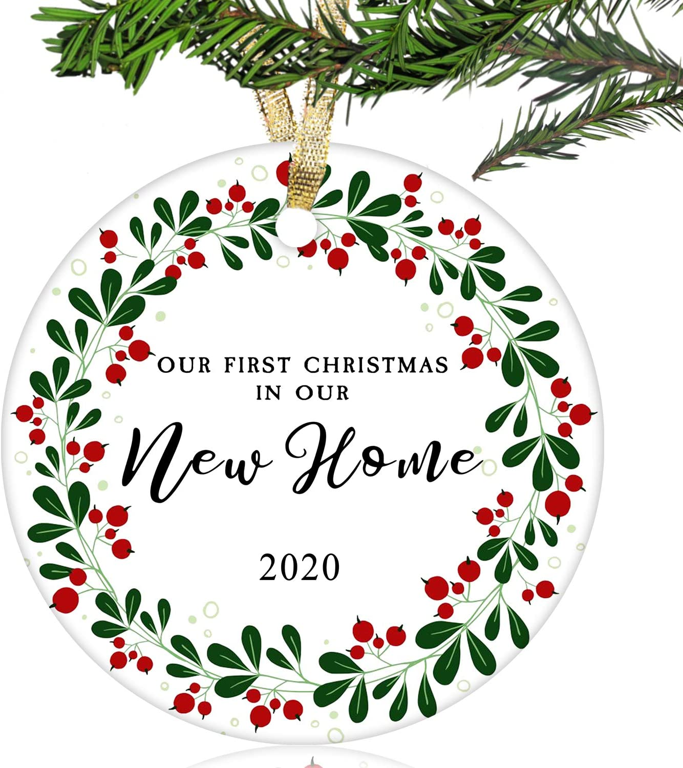 "NURIONSS Our First Christmas in Our New Home Ornaments 2020 - Christmas Wedding Decoration Gift for New Home New Homeowner New Apartment - 2.85"" Ceramic Ornament(New Home 12)"