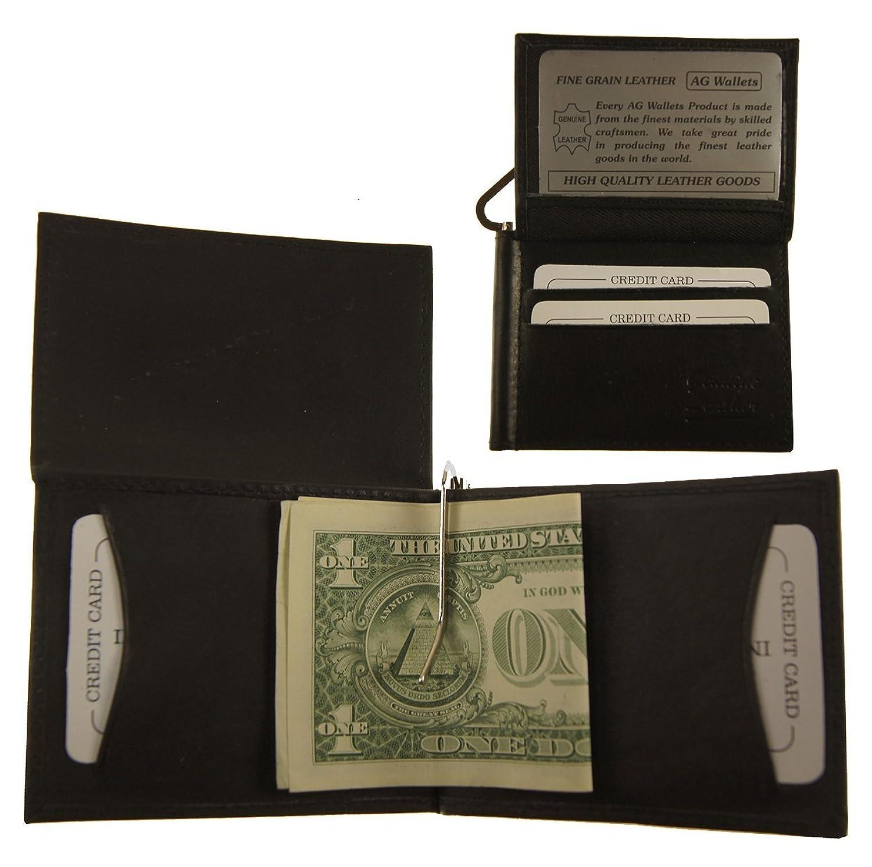 AG Wallets Men's Cowhide Leather Bifold Double Money Clip Wallet (L Shape) Black