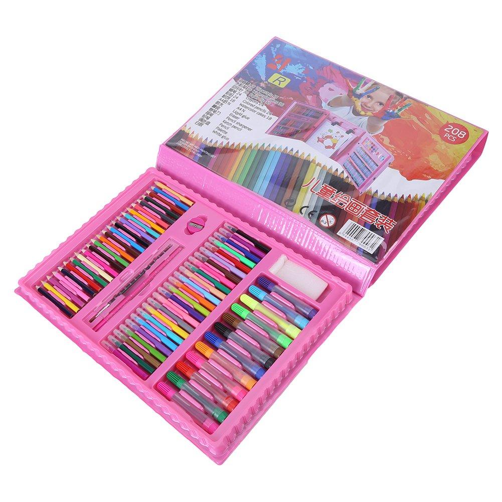 Hilitand 172pcs Art Drawing Set for Kids Pencil Marker Pen Eraser Brush Paint Set Kit with Plastic Case Pink Light