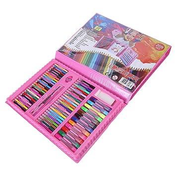Hilitand 172pcs Art Drawing Set para niños Pencil Marker Pen borrador pincel conjunto de pintura con caja de plástico rosa luz: Amazon.es: Hogar
