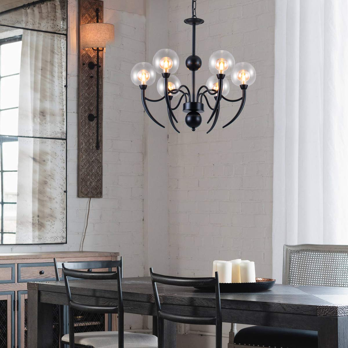 Industrial 6-Light Pendant Lighting with Unique Glass Shades, Black Chandelier with an Adjustable Chain, Lighting Fixtures Ceiling Chandelier for a Farmhouse, Bathroom, Kitchen, Living Room, Hotel