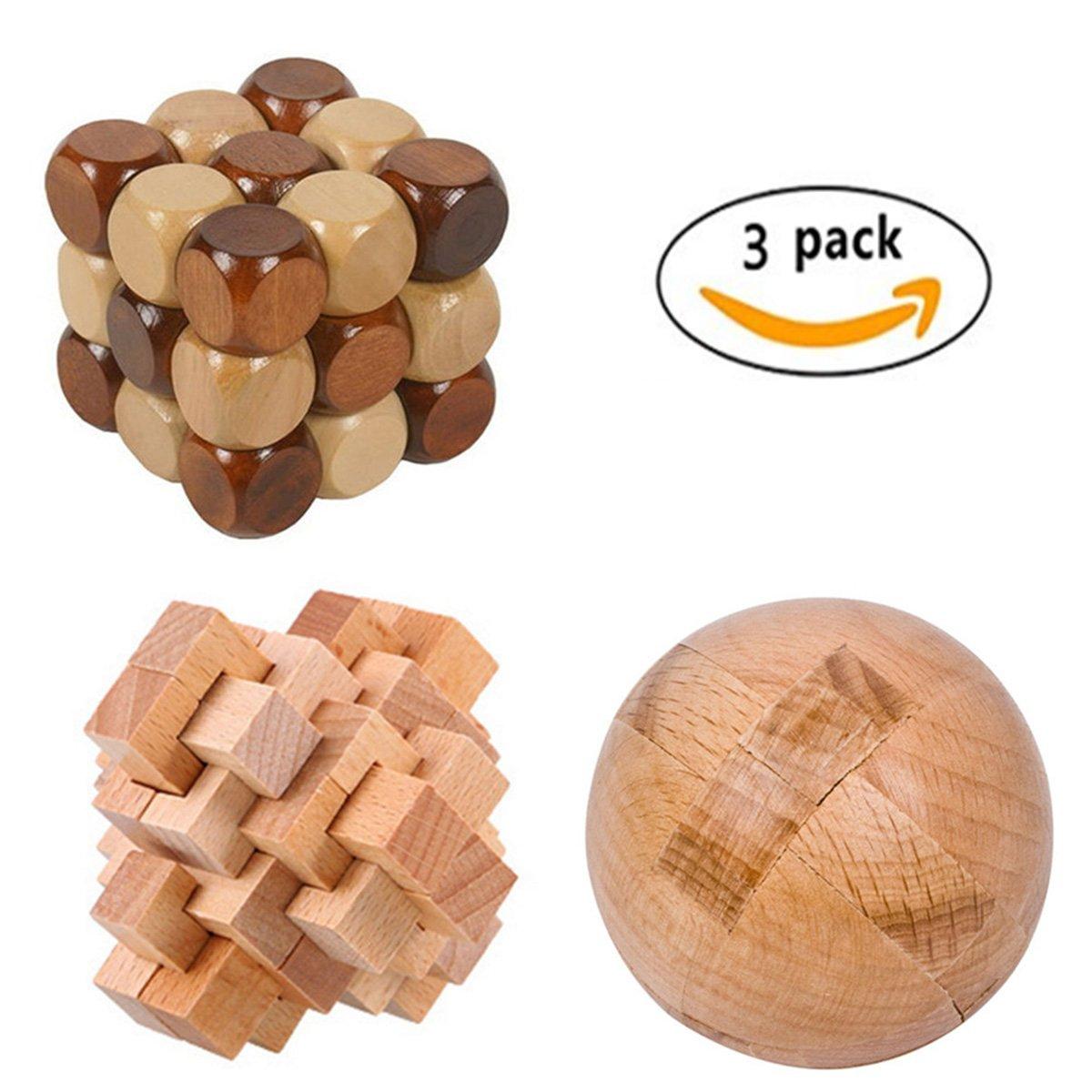 CiCy 3 Pcs 3D Wooden Cube Brain Teaser Puzzle Snake Cube Wooden Brain Teaser Puzzle Children Kids Educational toy Puzzles Magic Balls 24 Unlock Interlocking Brain Teaser Puzzle