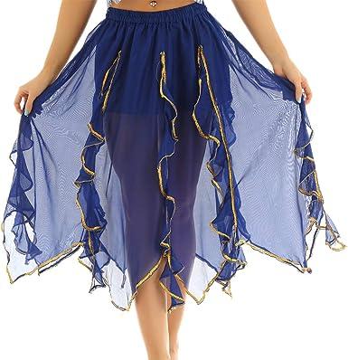 Freebily Falda Gasa Asimétrico Maxi para Danza Oriental Mujer ...