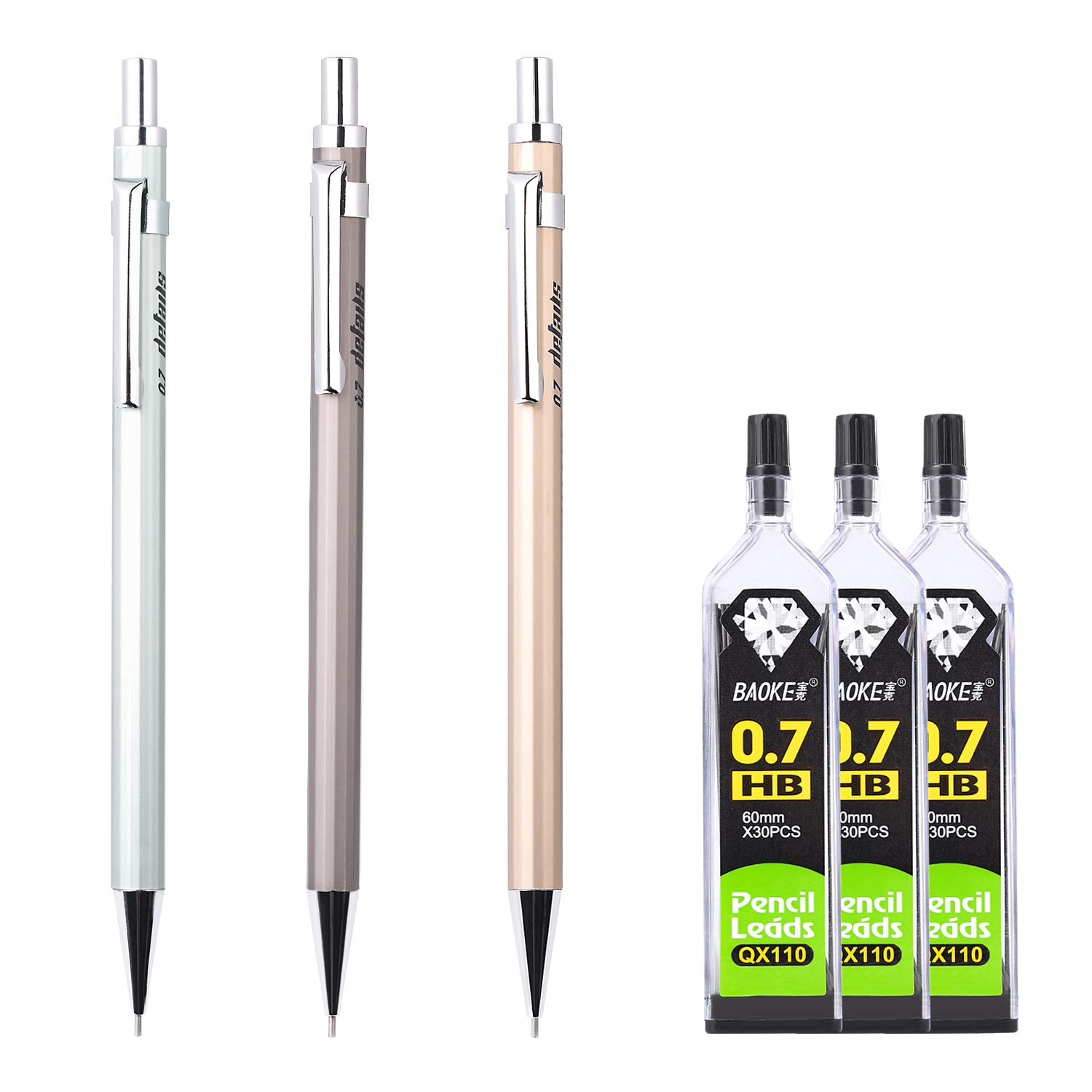 LONGKEY 3 Pack 0.7mm Mechanical Pencil with 3 Cases Lead Refills Refills for Draft Drawing, Writing, Crafting, Art Sketching Office and School
