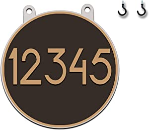 Curb-N-Sign 10-inch Circular Double-Sided Hanging Address Sign Highly Reflective (Bronze)