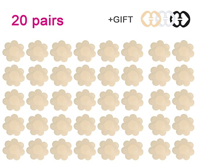 42d617366efec Image Unavailable. Image not available for. Color  Daisyformals 20 Pairs  Pasties Satin Nipple Cover Stickers Disposable Breast ...