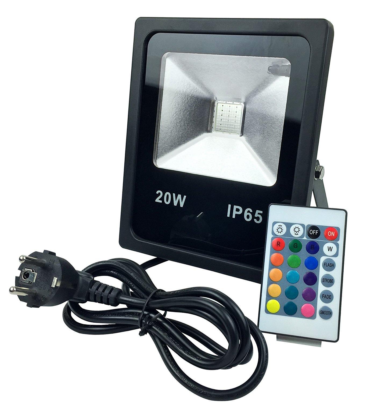 20W RGB LED Fluter Floodlight Strahler Licht Fernbedienung, 4 Modi ...