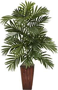 "Nearly Natural 6675 Areca Palm with Bamboo Vase Decorative Silk Plant, Green,7.5"" x 9"" x 30"""