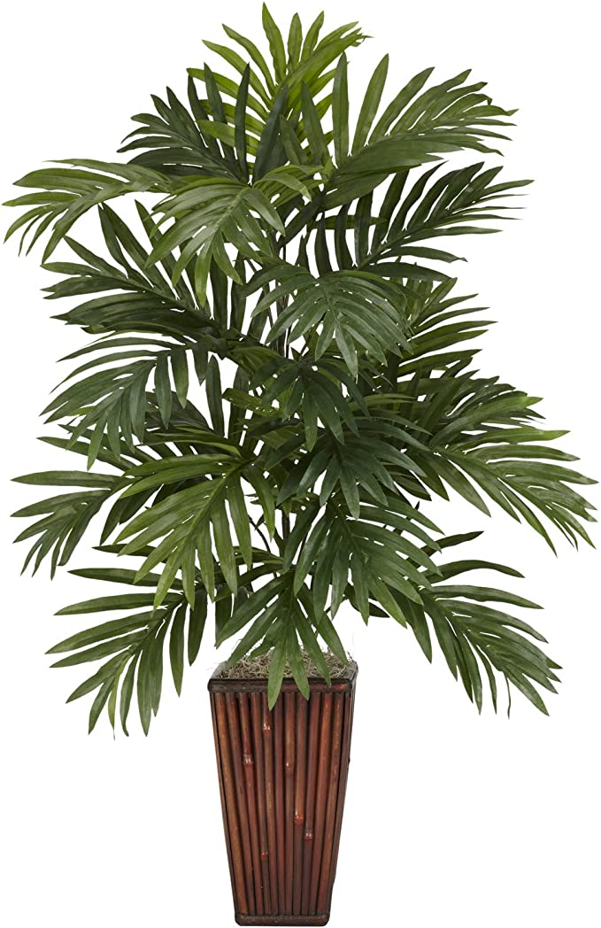 Nearly Natural 6675 Areca Palm With Bamboo Vase Decorative Silk Plant Green 7 5 X 9 X 30 Home Kitchen